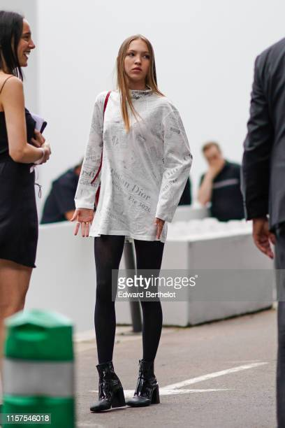Lila Grace Moss daughter of Kate Moss is seen outside Dior during Paris Fashion Week Menswear Spring/Summer 2020 on June 21 2019 in Paris France