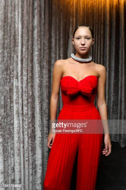 Lila Grace Moss Hack backstage ahead of the Richard Quinn show during London Fashion Week September 2021 on September 21, 2021 in London, England.