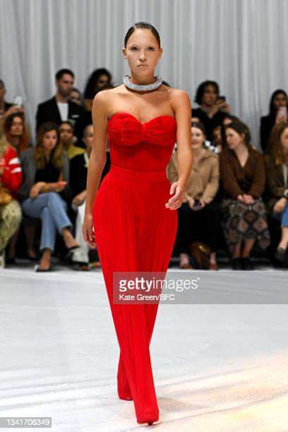 Lila Grace Moss Hack walks the runway at the Richard Quinn show during London Fashion Week September 2021 on September 21, 2021 in London, England.