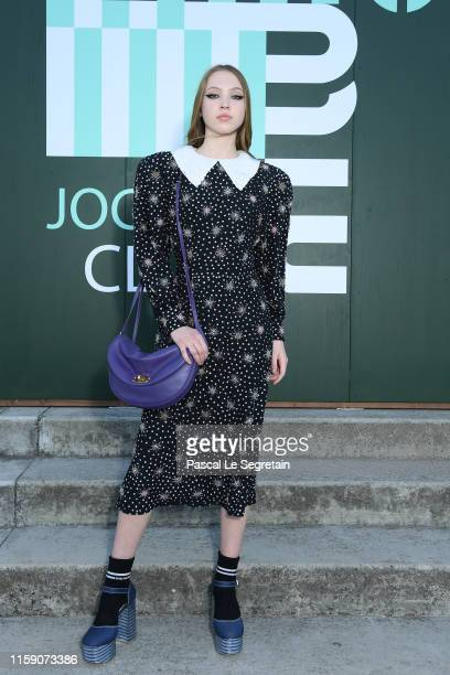 Lila Moss attends miu miu club event at Hippodrome d'Auteuil on June 29 2019 in Paris France