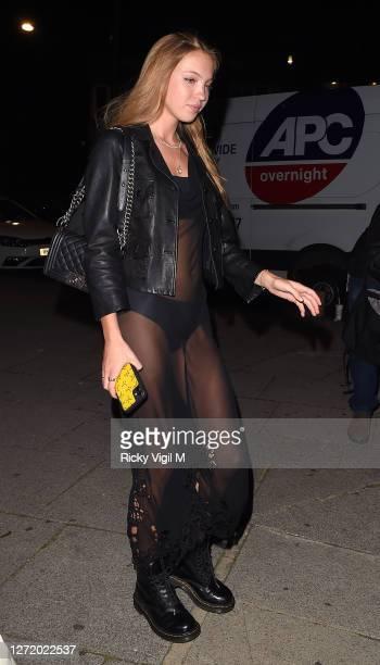 Lila Moss seen celebrating designer Kim Jones birthday party at Laylow on September 11, 2020 in London, England.