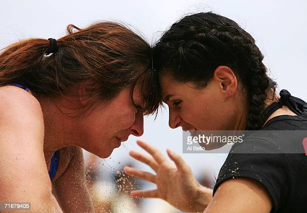 Lila Ristevska Clara Curtis go head to head during the Beach/Sombo Wrestling National Championships on August 19 2006 in Palm Beach County Florida