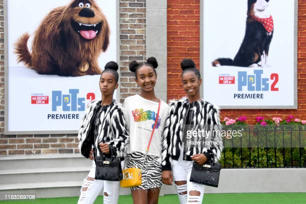 D'Lila Star Combs Chance Combs and Jessie James Combs attend the Premiere of Universal Pictures' 'The Secret Life Of Pets 2' at Regency Village...
