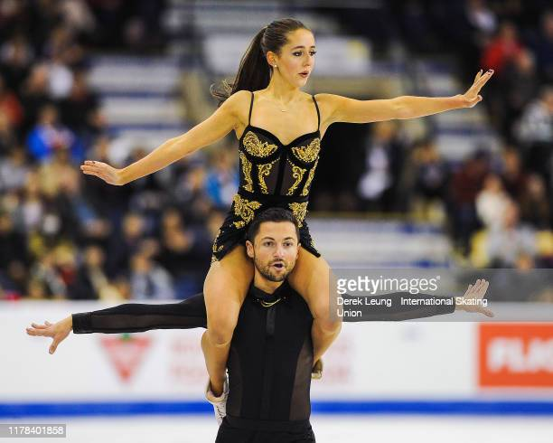 Lilah Fear and Lewis Gibson of Great Britain perform in the ice dance free dance. They placed third with a score of 118.68 during the ISU Grand Prix...