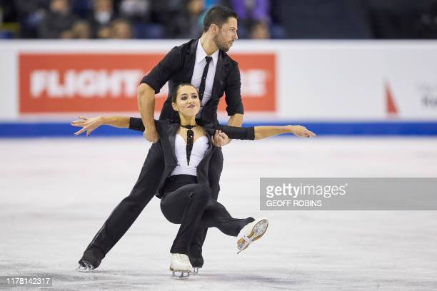 Lilah Fear and Lewis Gibson of Great Britain skate their rhythm dance at the 2019 Skate Canada International ISU Grand Prix event in Kelowna, Canada,...