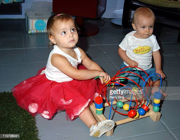 Lilah Sitkevich and Caden Crowley during Sugar Baby Kid's Boutique Store Opening at Sugar Baby in Los Angeles California United States