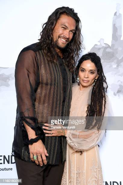 Lilakoi Moon and Jason Momoa attend the Cocktail at Fendi Couture Fall Winter 2019/2020 on July 04 2019 in Rome Italy