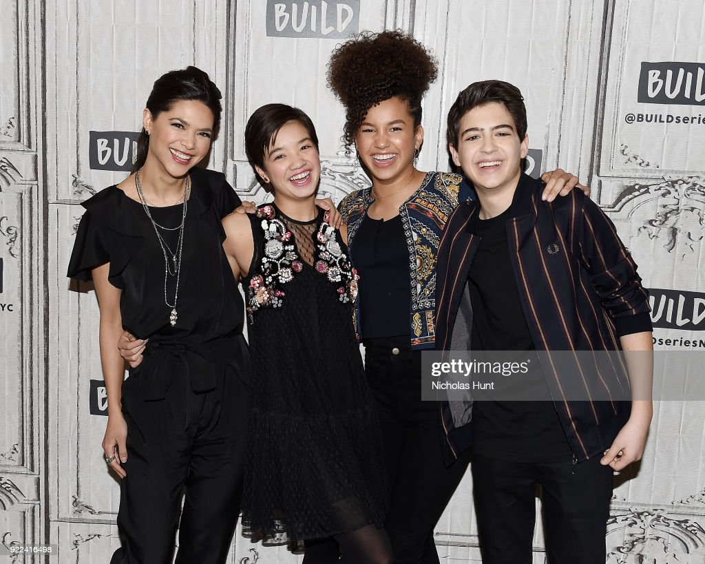 Lilan Bowden, Peyton Lee, Sofia Wylie and Joshua Rush attend Build Series to discuss 'Andi Mack' at Build Studio on February 21, 2018 in New York City.