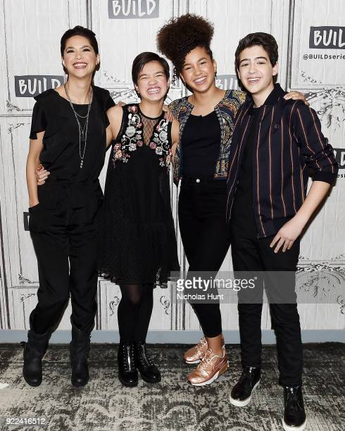 Lilan Bowden Peyton Lee Sofia Wylie and Joshua Rush attend Build Series to discuss 'Andi Mack' at Build Studio on February 21 2018 in New York City