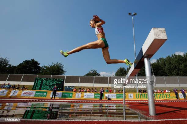 Lili Anna Toth of Hungary competes in the 2000m Girls steeple race during the European Youth Olympic Festival held at the Athletics Track...