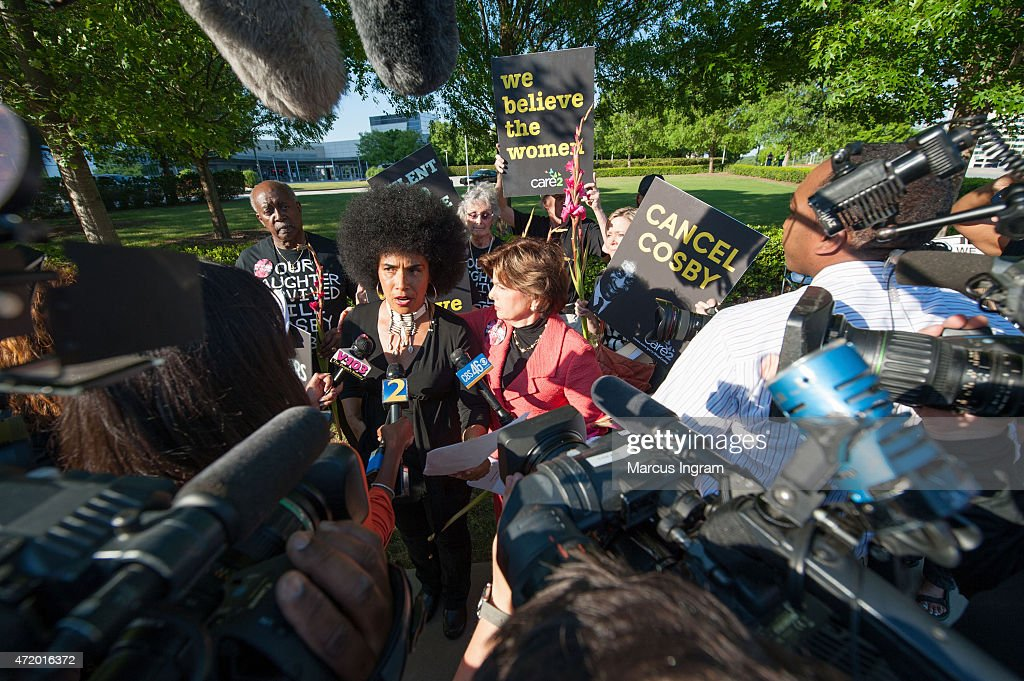 Lili Bernard and Gloria Allred gather with protestors outside of Bill Cosby's 'Far from Finished' Tour at Cobb Energy Performing Arts Center on May 2, 2015 in Atlanta, Georgia.