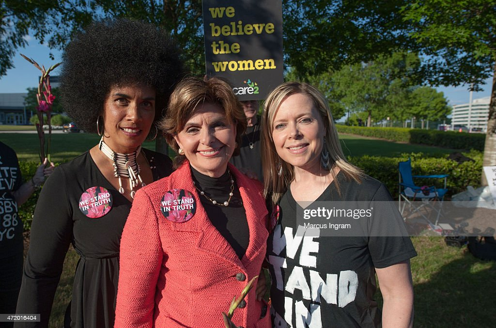 Lili Bernard, Gloria Allred, and Brandy Betts gather with protestors outside of Bill Cosby's 'Far from Finished' Tour at Cobb Energy Performing Arts Center on May 2, 2015 in Atlanta, Georgia.