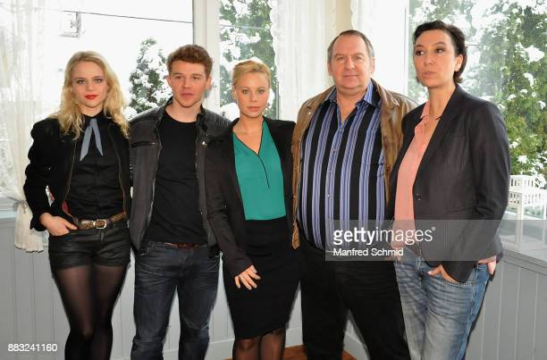 Lili Epply, Simon Morze, Katharina Strasser, and Ursula Strauss pose during the tv series 'Schnell ermittelt' On Set Photo Call at Schutzhaus am...