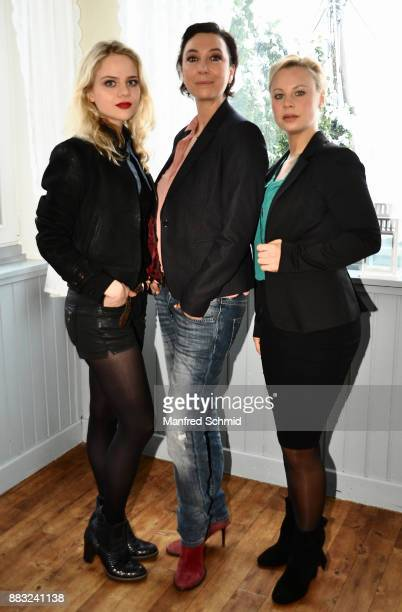 Lili Epply, Ursula Strauss and Katharina Strasser pose during the tv series 'Schnell ermittelt' On Set Photo Call at Schutzhaus am Schafberg on...