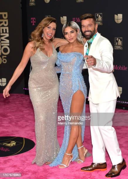 Lili Estefan Alejandra Espinoza and Ricky Martin attends Univision's Premio Lo Nuestro 2020 at AmericanAirlines Arena on February 20 2020 in Miami...