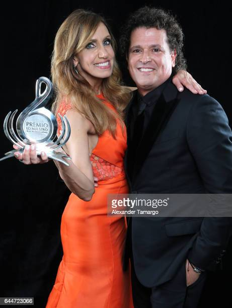 Lili Estefan and Carlos Vives pose at Univision's 29th Edition of Premio Lo Nuestro A La Musica Latina at the American Airlines Arena on February 23...
