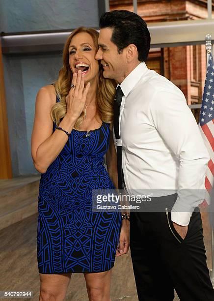 Lili Estefan and David Zepeda are seen on the set of 'El Gordo y La Flaca' at Univision Studios on June 16 2016 in Miami Florida