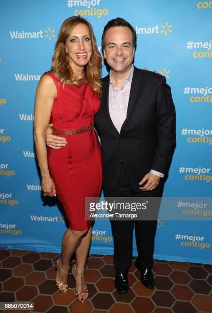 Lili Estefan and Jorge Plasencia are seen during Walmart's 'Mejor Contigo' event at COYA restaurant on April 5 2017 in Miami Florida