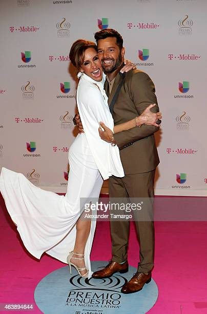 Lili Estefan and Ricky Martin attend the 2015 Premios Lo Nuestros Awards at American Airlines Arena on February 19 2015 in Miami Florida