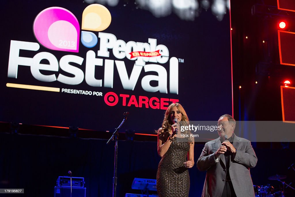 Lili Estefan (L) hosts the Festival People en Español Presented by Target at The Alamodome on August 31, 2013 in San Antonio, Texas.