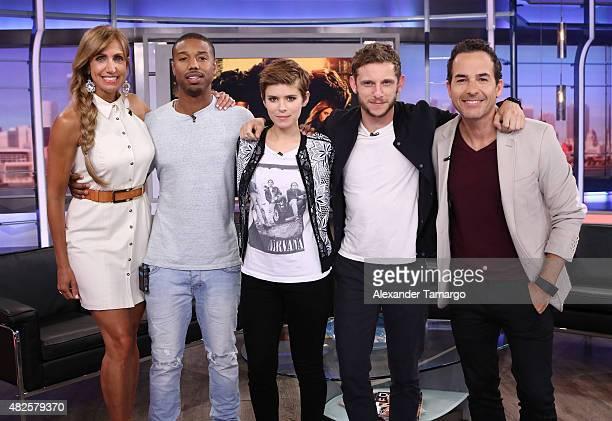 Lili Estefan Michael B Jordan Kate Mara Jamie Bell and Carlos Calderon are seen on the set of El Gordo y La Flaca to promote the movie Fantastic Four...