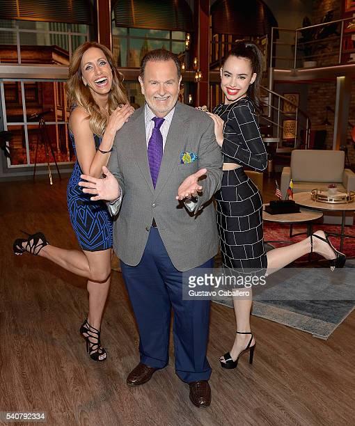 Lili Estefan Raul de Molina and Sofia Carson are seen on the set of 'El Gordo y La Flaca' at Univision Studios on June 16 2016 in Miami Florida