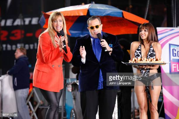 Lili Estefan, Raul de Molina and Vida Guerra attend the launch of the ''Lo Mejor On Demand'' channel in Times Square on October 23, 2009 in New York...