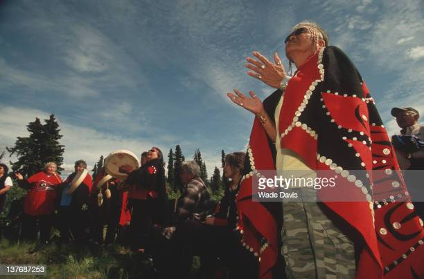 Lili Moyer a Tahltan leader prays at a ceremony celebrating the Sacred Headwaters birthplace of three of Canada's most important salmon rivers the...