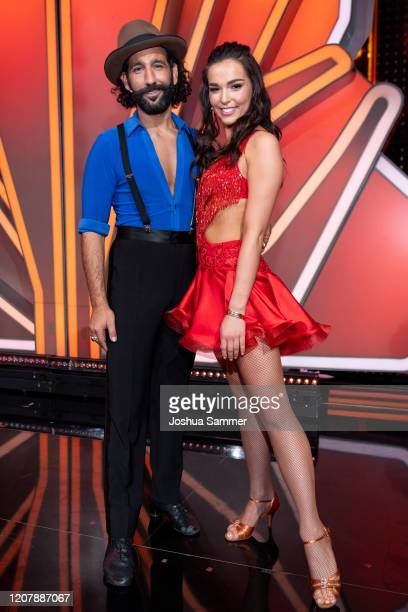 """Lili Paul-Roncalli and Massimo Sinató are seen on stage during the pre-show """"Wer tanzt mit wem? Die grosse Kennenlernshow"""" of the television..."""