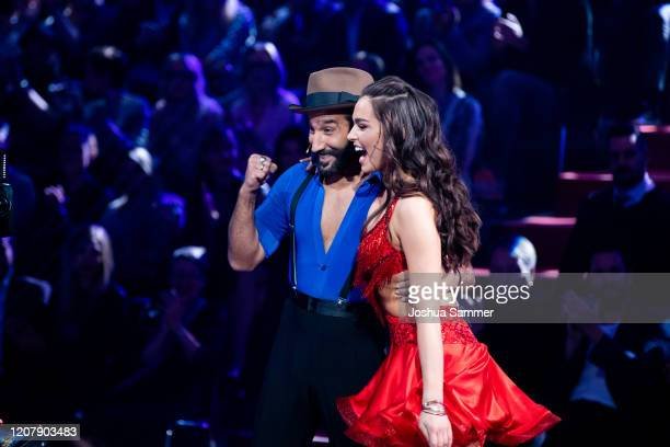 Lili PaulRoncalli and Massimo Sinató are seen on stage during the preshow Wer tanzt mit wem Die grosse Kennenlernshow of the television competition...