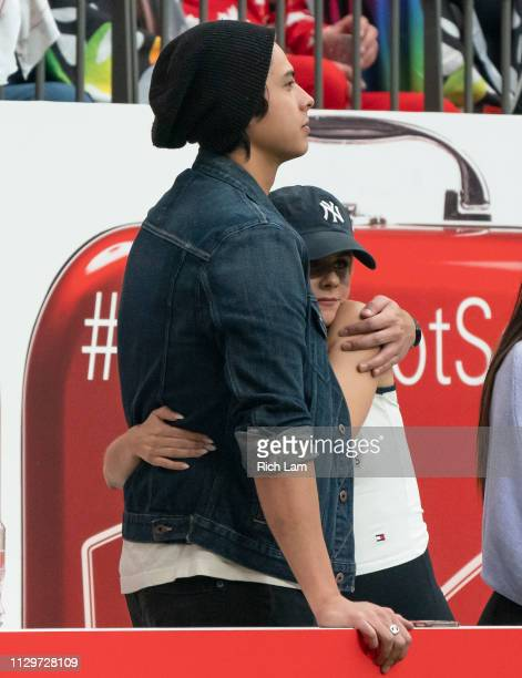 Lili Reinhart and Cole Sprouse while taking in rugby sevens action on Day 2 of the HSBC Canada Sevens at BC Place on March 10 2019 in Vancouver Canada