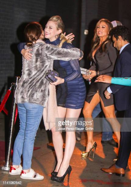 Lili Reinhart and Jennifer Lopez are seen on the movie set of the 'Hustlers' on May 03 2019 in New York City