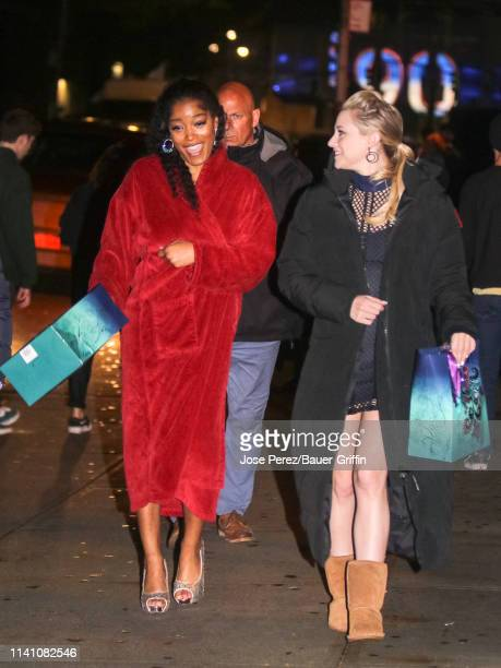 Lili Reinhart and Keke Palmer are seen on the movie set of the 'Hustlers' on May 03 2019 in New York City