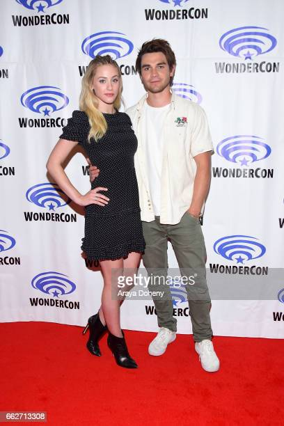 Lili Reinhart and KJ Apa attend the Riverdale panel at WonderCon 2017 Day 1 at Anaheim Convention Center on March 31 2017 in Anaheim California