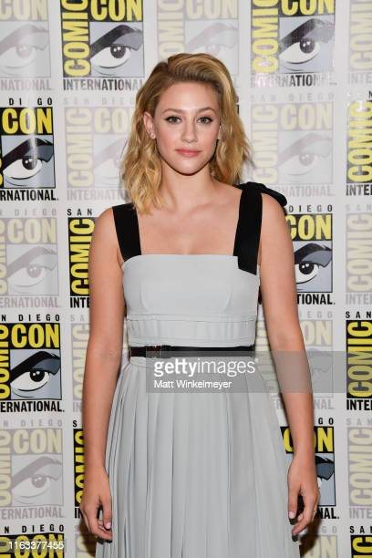 "Lili Reinhart attends the 2019 Comic-Con International ""Riverdale"" photo call at Hilton Bayfront on July 21, 2019 in San Diego, California."