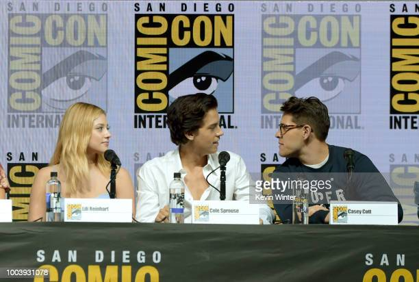 Camila Mendes Lili Reinhart Cole Sprouse Casey Cott and Ashleigh Murray speak onstage at the 'Riverdale' special video presentation and QA during...