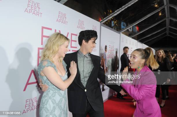 Lili Reinhart Cole Sprouse and Haley Lu Richardson attend the Five Feet Apart Los Angeles premiere on March 07 2019 in Los Angeles California