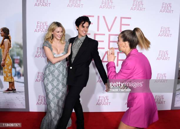 Lili Reinhart Cole Sprouse and Haley Lu Richardson attend the Premiere Of Lionsgate's Five Feet Apart at Fox Bruin Theatre on March 07 2019 in Los...