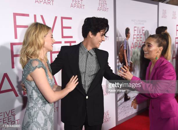 Lili Reinhart Cole Sprouse and Hayley Lu Richardson arrive at the premiere of CBS Films' Five Feet Apart at the Fox Bruin Theatre on March 07 2019 in...
