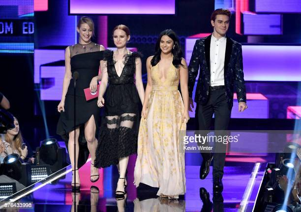 Lili Reinhart Madelaine Petsch Camila Mendes and KJ Apa walk onstage during the 2017 American Music Awards at Microsoft Theater on November 19 2017...