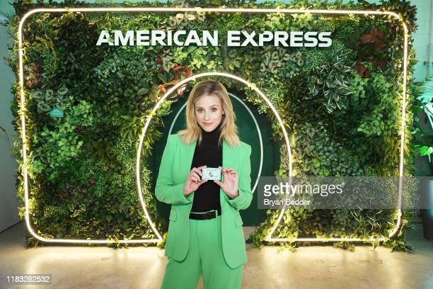 Lili Reinhart poses as American Express celebrates the refresh of Green From Amex at Industria Williamsburg on October 24 2019 in Brooklyn New York