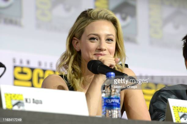 Lili Reinhart speaks at the Riverdale Special Video Presentation and QA during 2019 ComicCon International at San Diego Convention Center on July 21...