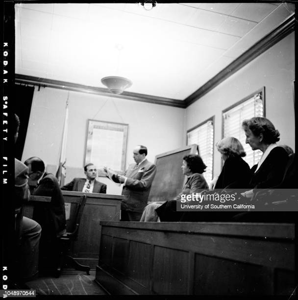 Lili Saint Cyr trial 4 December 1951 Deputy CH ConnerJerry GeislerLili Saint CyrArmando OrsiniCaption slip reads 'Photographer Mercurio Date Reporter...