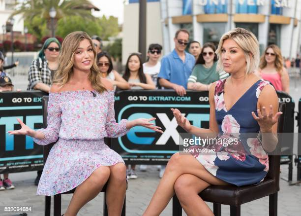 Lili Simmons and Charissa Thompson visit Extra at Universal Studios Hollywood on August 15 2017 in Universal City California
