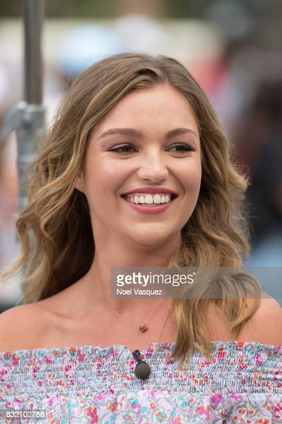 Lili Simmons visits Extra at Universal Studios Hollywood on August 15 2017 in Universal City California