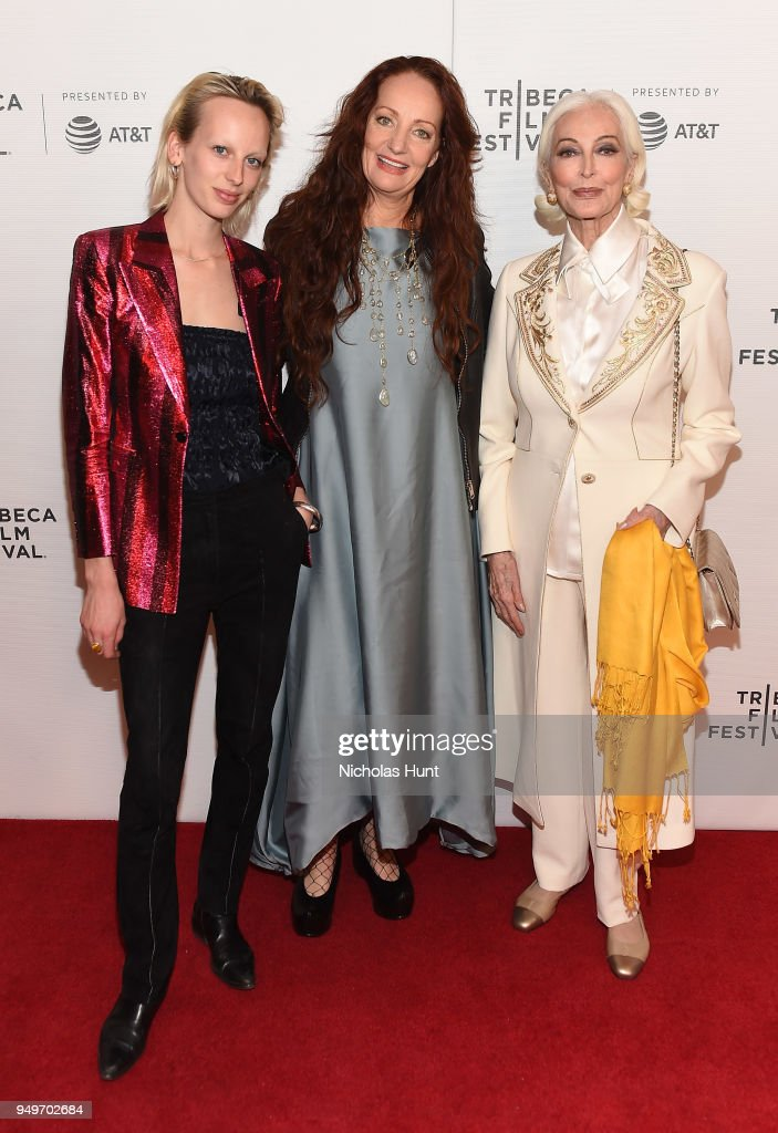 Lili Sumner, Pietra Brettkelly and Carmen Dell'Orefice attend a screening of 'Yellow Is Forbidden' during the 2018 Tribeca Film Festival at Cinepolis Chelsea on April 21, 2018 in New York City.