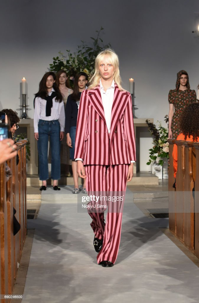 Lili Sumner walks during the ALEXACHUNG London Launch and Collection Reveal on May 30, 2017 in London, England.