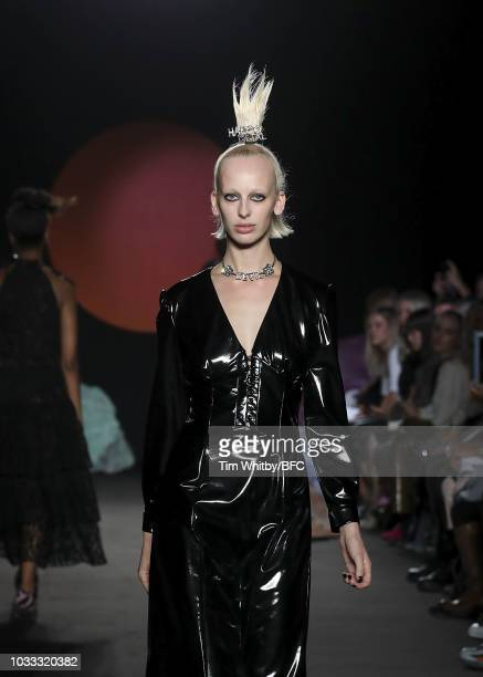 Lili Sumner walks the runway at the Ashley Williams presentation during London Fashion Week September 2018 at the House of Vans on September 14 2018...