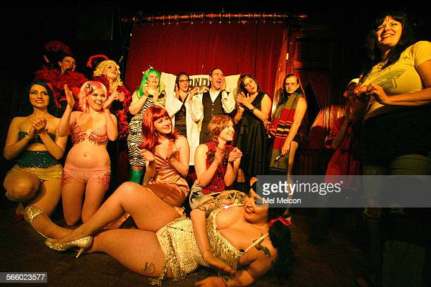 Lili Von Schtupp far right joins the performers on stage as they take a curtain call at the conclusion of the weekly show she produces Monday Night...