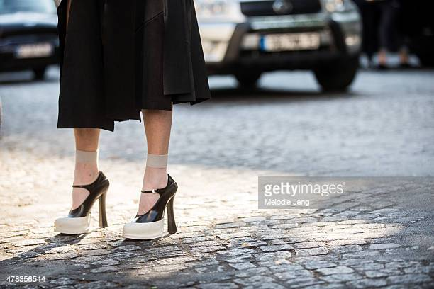Lilia Litkovskaya wears Prada shoes on June 24 2015 in Paris France